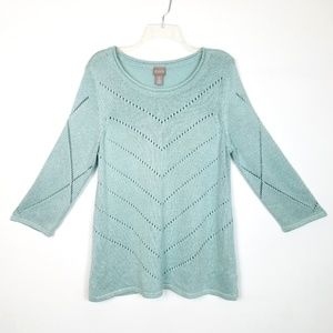 Chico's Light Teal Sweater w/Knit Design, Size 2